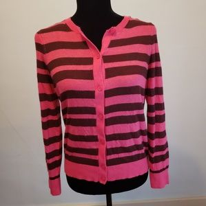 Loft Sz LP pink and brown button down sweater